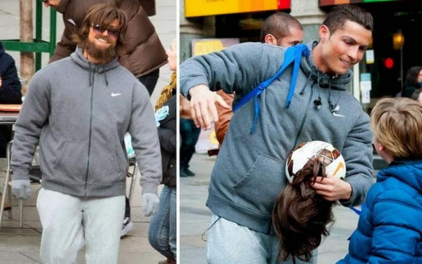 Ronaldo prerušen u beskućnika izvodio majstorije s loptom u Madridu